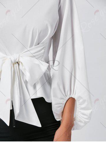 Chic Belted Puff Sleeve Blouse - L WHITE Mobile