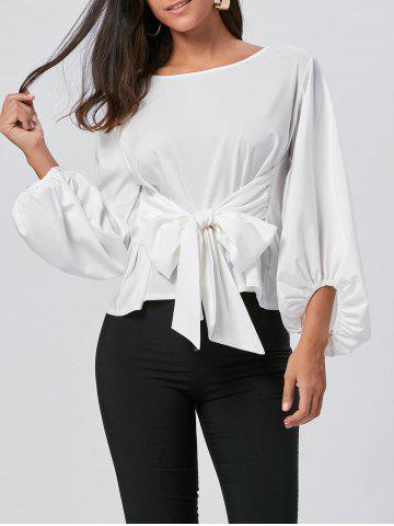 Affordable Belted Puff Sleeve Blouse - L WHITE Mobile