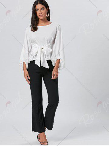 Outfit Belted Puff Sleeve Blouse - L WHITE Mobile