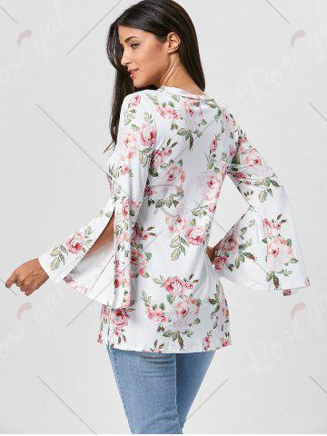 Trendy Floral Split Flare Sleeve Tunic Top - S WHITE Mobile