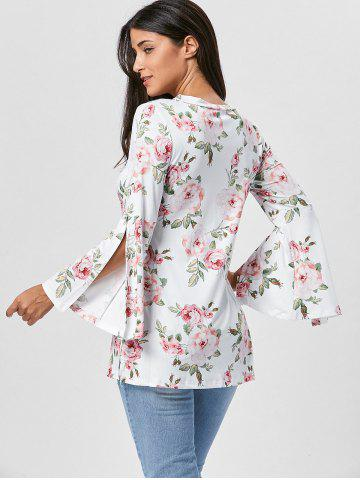 Fancy Floral Split Flare Sleeve Tunic Top - XL WHITE Mobile
