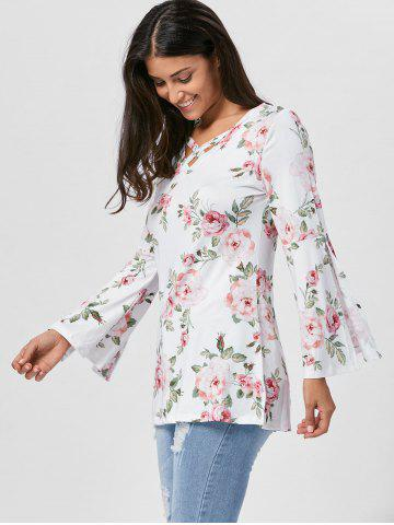 Affordable Floral Split Flare Sleeve Tunic Top - XL WHITE Mobile