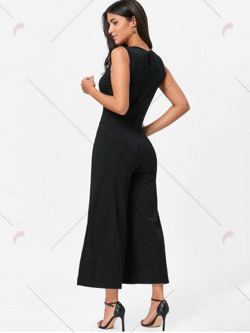 Fancy Wide Leg Sleeveless Two Tone Jumpsuit - S WHITE AND BLACK Mobile