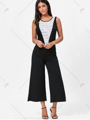 Discount Wide Leg Sleeveless Two Tone Jumpsuit - L WHITE AND BLACK Mobile