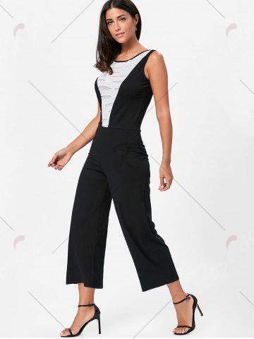 Fancy Wide Leg Sleeveless Two Tone Jumpsuit - L WHITE AND BLACK Mobile