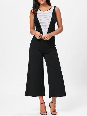 Wide Leg Sleeveless Two Tone Jumpsuit - White And Black - Xl