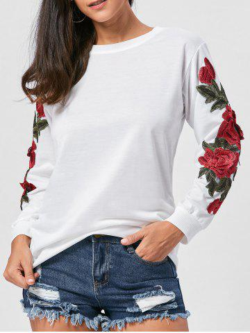 Store Long Sleeve Floral Applique Tunic Sweatshirt WHITE XL