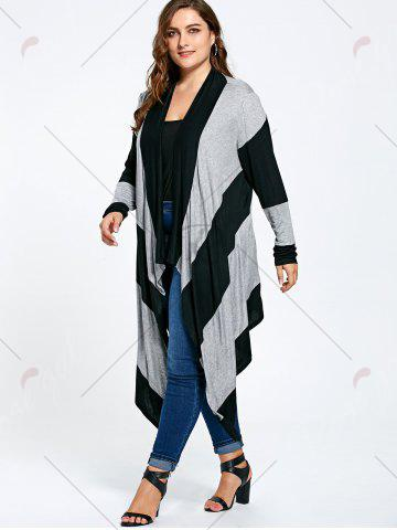Outfits Long Plus Size Asymmetric Striped Cardigan - XL BLACK AND GRAY Mobile