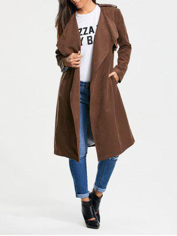Trendy Long Belted Wrap Faux Suede Trench Coat - M TAN Mobile
