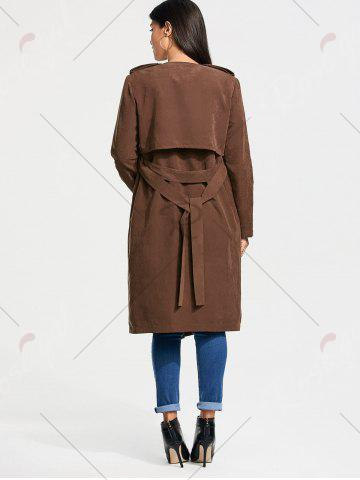 Latest Long Belted Wrap Faux Suede Trench Coat - M TAN Mobile