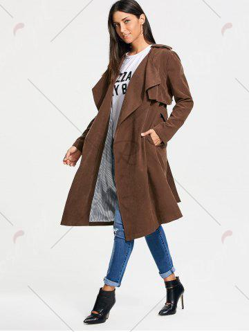 Store Long Belted Wrap Faux Suede Trench Coat - L TAN Mobile