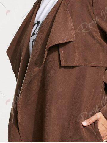 Sale Long Belted Wrap Faux Suede Trench Coat - L TAN Mobile
