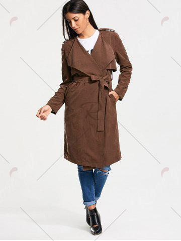 Fancy Long Belted Wrap Faux Suede Trench Coat - L TAN Mobile