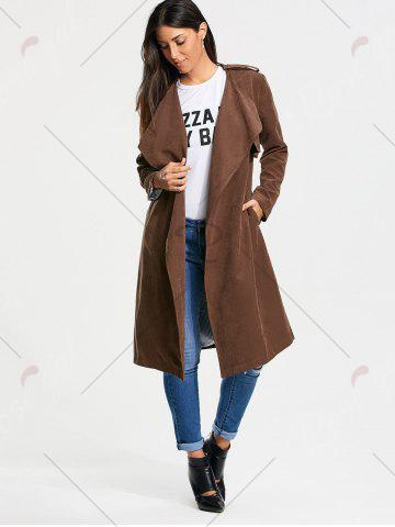 Outfits Long Belted Wrap Faux Suede Trench Coat - L TAN Mobile