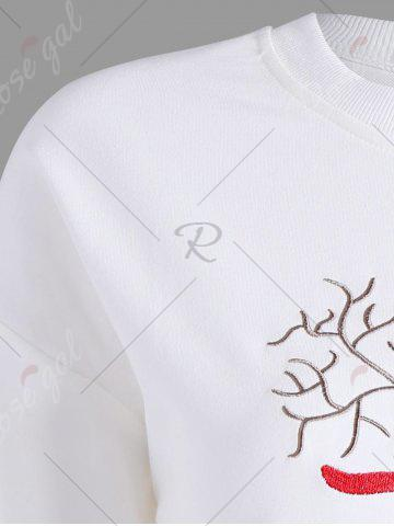 Outfit Plus Size High Low Elk Embroidered Top - 2XL WHITE Mobile