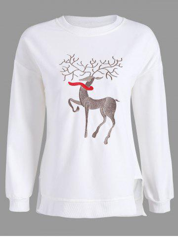 Plus Size High Low Elk Embroidered Top - White - Xl
