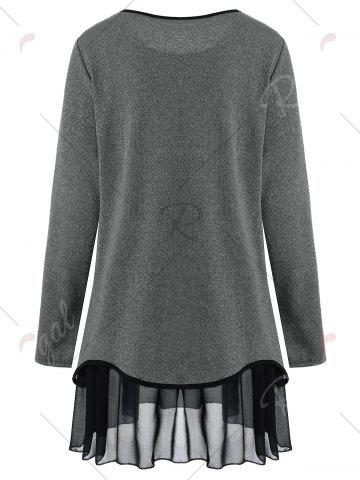 Latest Plus Size Overlay Drop Waist Knitwear - 5XL GRAY Mobile