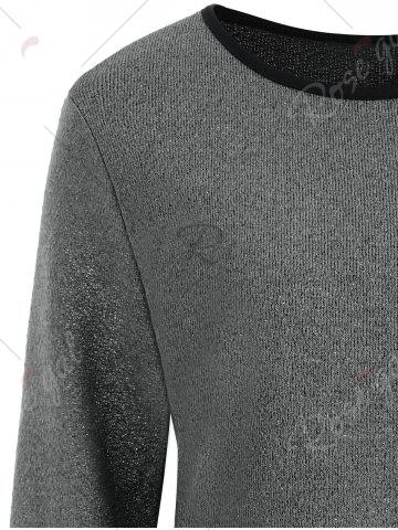 Affordable Plus Size Overlay Drop Waist Knitwear - 5XL GRAY Mobile