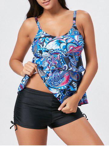 Cheap Tier Flounce Printed Tankini Swimwear - M COLORMIX Mobile