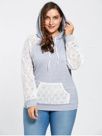 Trendy Pocket Lace Raglan Sleeve Plus Size Hoodie - 3XL GRAY Mobile