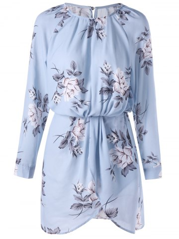 Floral Long Sleeve Blouson Dress - Pantone Turquoise - L