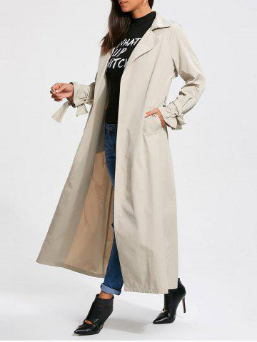 Trendy Belted Maxi Wrap Trench Coat - S OFF-WHITE Mobile