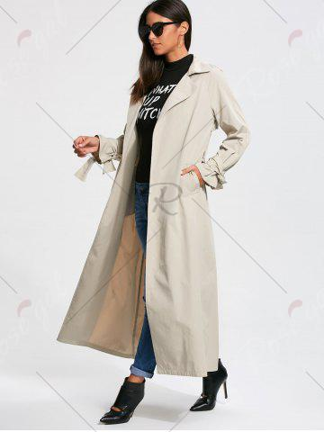 Fashion Belted Maxi Wrap Trench Coat - S OFF-WHITE Mobile