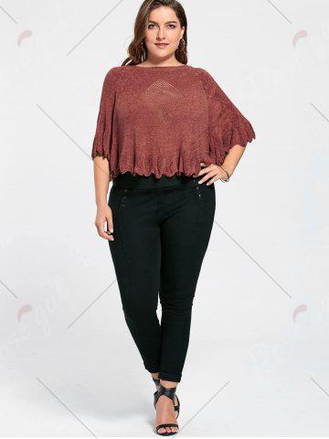 Shops Feather Pattern Scalloped Plus Size Poncho Sweater - ONE SIZE BRICK-RED Mobile