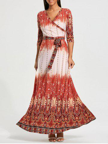 Outfit Bohemia Print Belted Maxi Surplice Dress