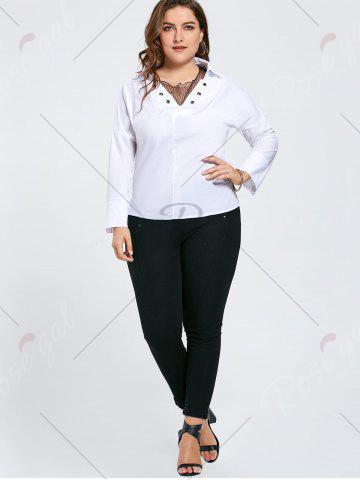 Latest Plus Size Eyelet Long Sleeve Shirt with Sheer Voile - 3XL WHITE Mobile
