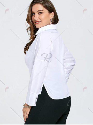 Chic Plus Size Eyelet Long Sleeve Shirt with Sheer Voile - 3XL WHITE Mobile