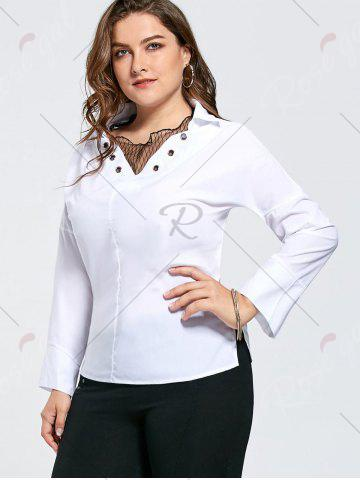 Chic Plus Size Eyelet Long Sleeve Shirt with Sheer Voile - 2XL WHITE Mobile
