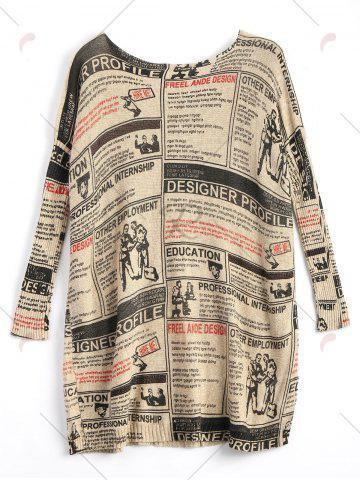 Fashion Plus Size Newspaper Printed Vintage Long Sweater - ONE SIZE APRICOT Mobile