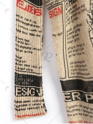 Outfits Plus Size Newspaper Printed Vintage Long Sweater - ONE SIZE APRICOT Mobile