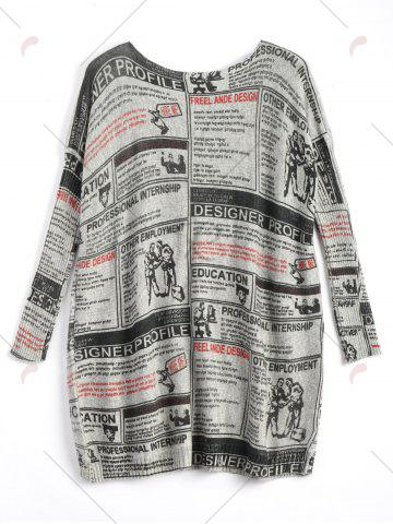 Shops Plus Size Newspaper Printed Vintage Long Sweater - ONE SIZE LIGHT GRAY Mobile