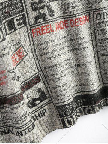 Store Plus Size Newspaper Printed Vintage Long Sweater - ONE SIZE LIGHT GRAY Mobile