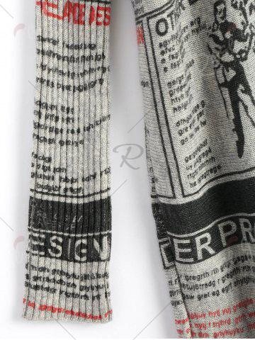 Fancy Plus Size Newspaper Printed Vintage Long Sweater - ONE SIZE LIGHT GRAY Mobile