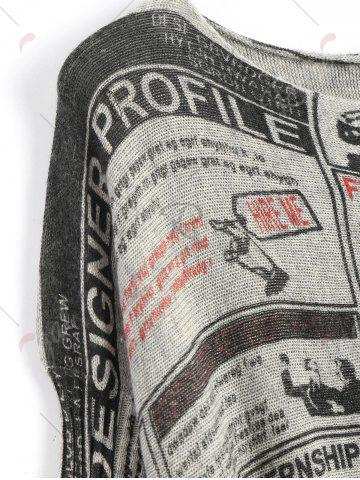 Outfits Plus Size Newspaper Printed Vintage Long Sweater - ONE SIZE LIGHT GRAY Mobile