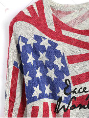 Fashion American Flag Knit Patriotic Plus Size Sweater - ONE SIZE RED Mobile