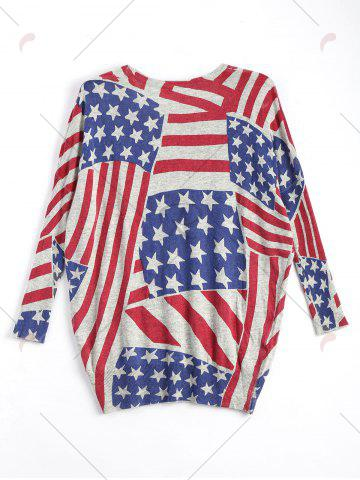 Hot American Flag Knit Patriotic Plus Size Sweater - ONE SIZE RED Mobile