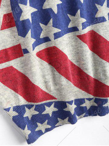 Outfits American Flag Knit Patriotic Plus Size Sweater - ONE SIZE RED Mobile