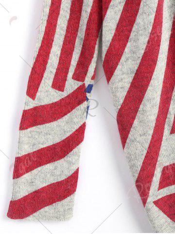 Shops American Flag Knit Patriotic Plus Size Sweater - ONE SIZE RED Mobile