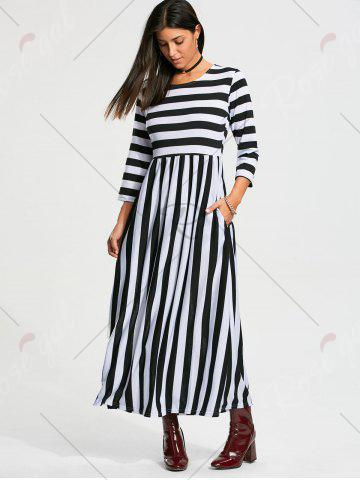 Store High Waist Stripe Maxi Dress with Pocket - S BLACK Mobile