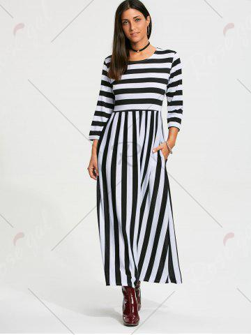 Trendy High Waist Stripe Maxi Dress with Pocket - M BLACK Mobile