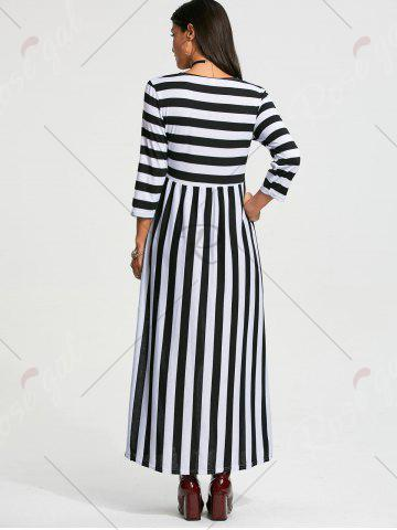 Discount High Waist Stripe Maxi Dress with Pocket - M BLACK Mobile
