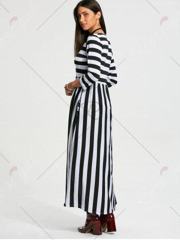 Best High Waist Stripe Maxi Dress with Pocket - M BLACK Mobile