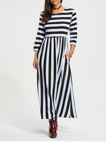 Fancy High Waist Stripe Maxi Dress with Pocket - M BLACK Mobile