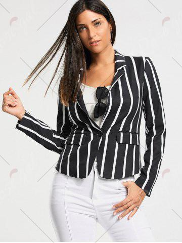 Affordable One Button Vertical Stripe Blazer - S COLORMIX Mobile