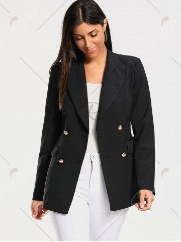 Outfit Double Breasted Plain Blazer - S BLACK Mobile