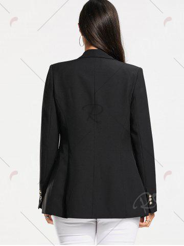 Affordable Double Breasted Plain Blazer - S BLACK Mobile